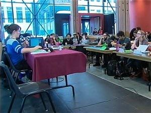 Lors du congrès de la CLASSE, samedi, à l'Université Laval.