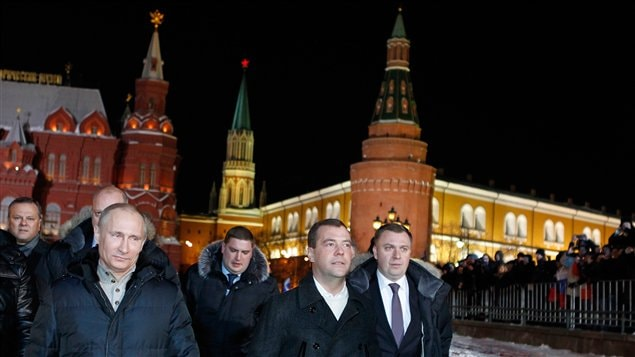 Vladimir Poutine et Dimitri Medvedev à Moscou