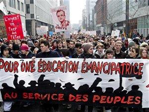 Des étudiants ont manifesté le 13 mars dernier dans les rues de Montréal.