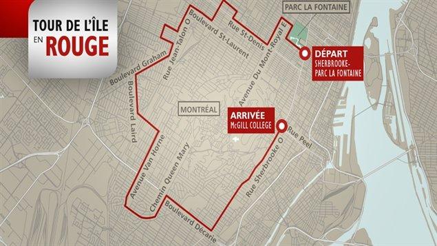 Les étudiants font le tour de l'île de Montréal en vélo et en patin pour manifester à nouveau contre la hausse des droits de scolarité.