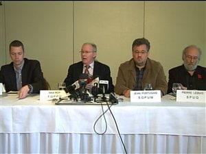 Point de presse des représentants des professeurs universitaires qui s'indignent contre la judiciarisation de la grève, le 19 avril 2012