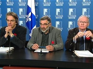 De gauche à droite, Mario Beauchemin, président de la Fédération des enseignants de cégep, Jean Trudelle, président de la Fédération nationale des enseignants du Québec et Max Roy, président de la Fédération québécoise des professeurs d'université.