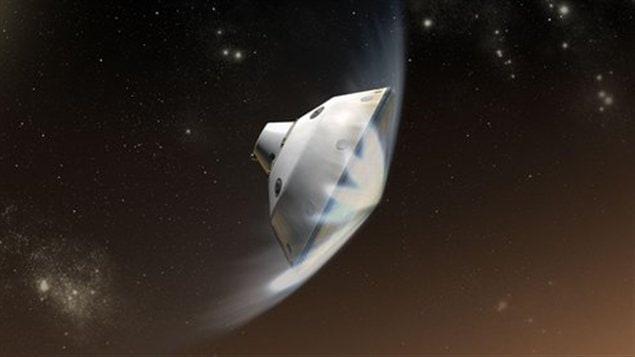 Représentation du robot pénétrant dans l'atmosphère de Mars