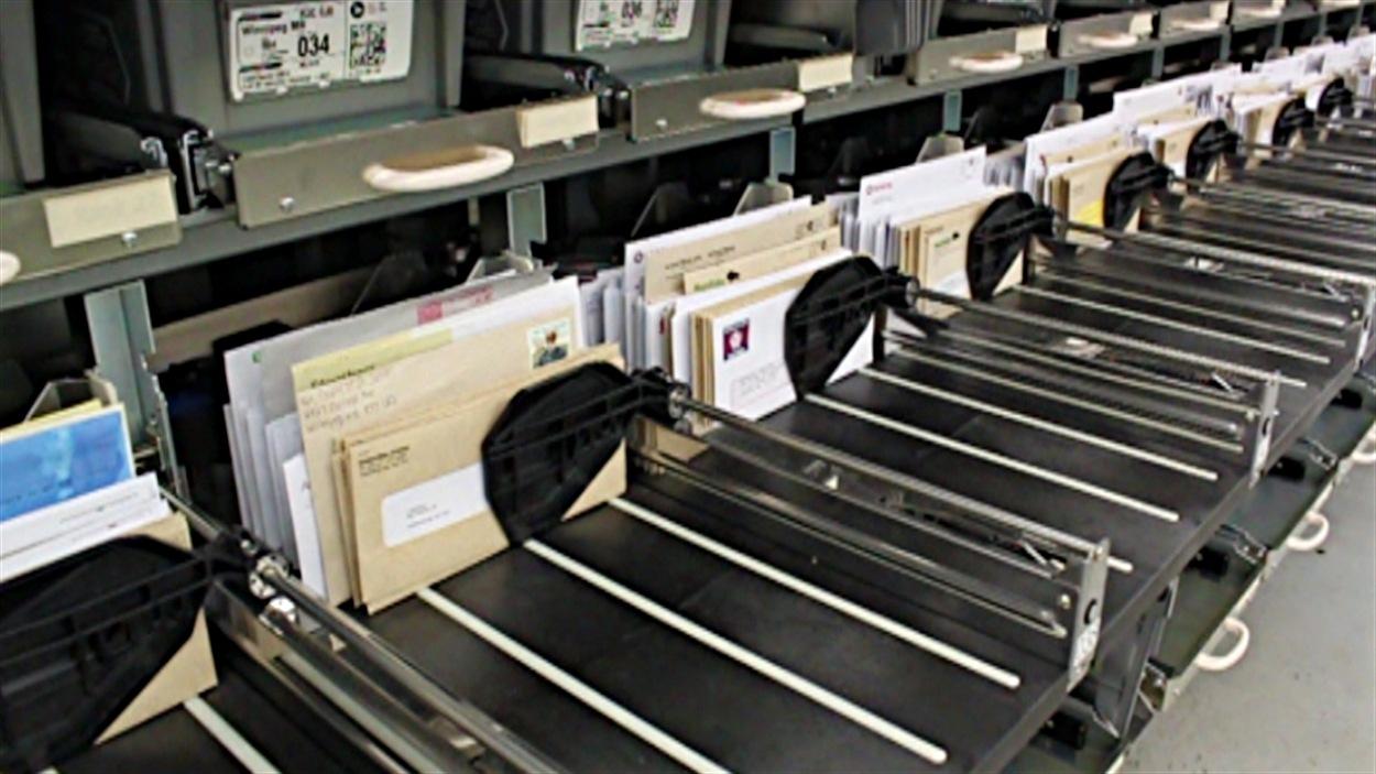 ne machine trie et séquence le courrier chez Postes Canada.