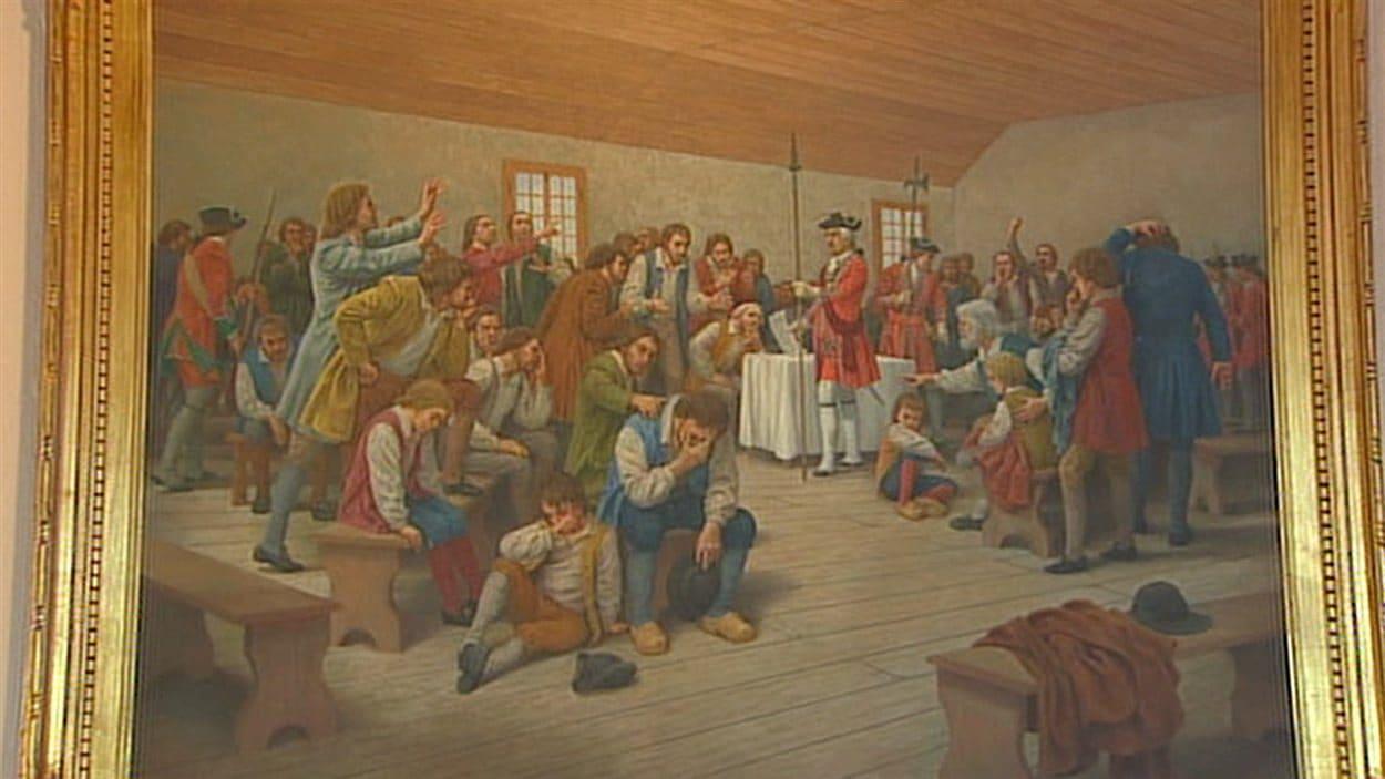 Tableau illustrant la déportation des Acadiens
