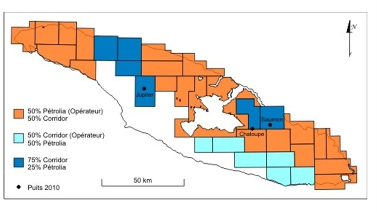La carte de l'exploration de Pétrolia sur l'île d'Anticosti