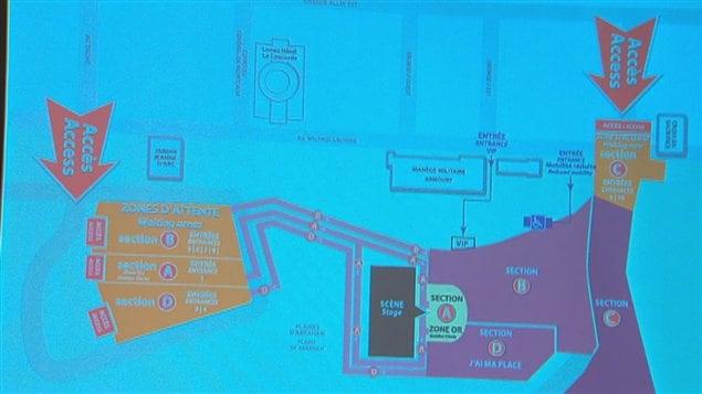 Les quatre zones d'attente (en orange) seront aménagées aux alentours de la scène. Les détenteurs de billets auront accès à ces zones dès 10 h. Les corridors qui mèneront au site du spectacle ouvriront vers 17h.