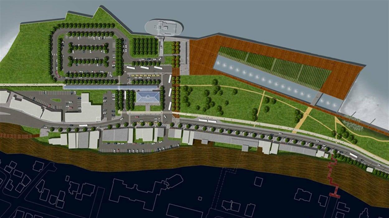 Un aperçu du projet de revitalisation du secteur de la traverse à Lévis.