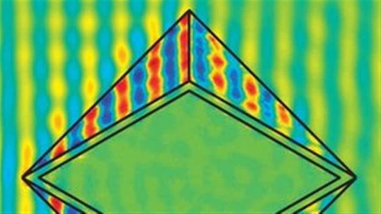Le métamatériau en forme de diamant permet de diriger parfaitement la lumière autour de l'objet