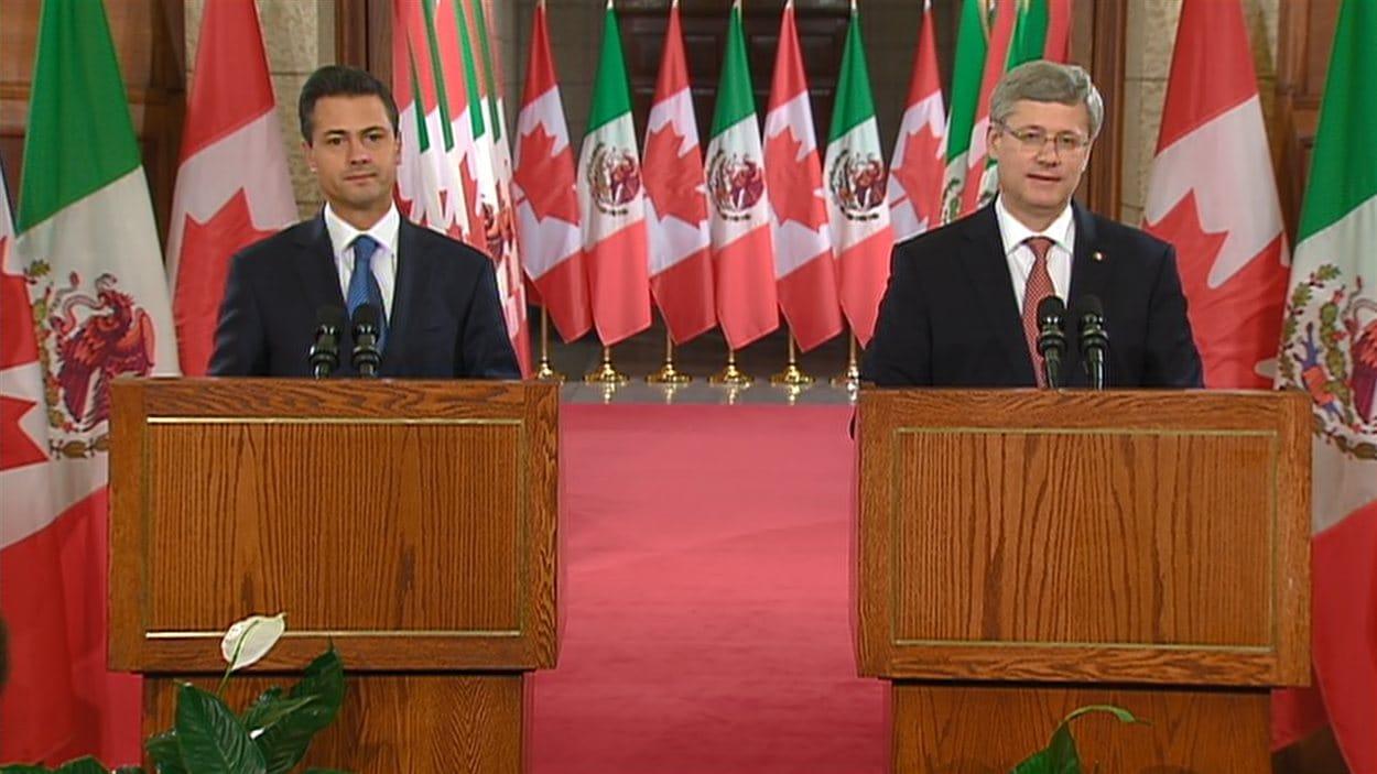 Le président mexicain Enrique Pena Nieto et Stephen Harper.