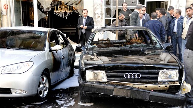 Traces d'un des attentats à Damas