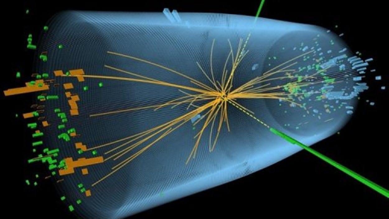 Graphique d'une expérience pour rechercher le Boson de Higgs, diffusé par le Cern à Genève, le 4 juillet 2012.