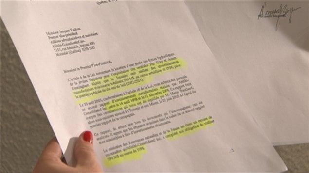 La lettre envoyée à Produits forestiers Résolu