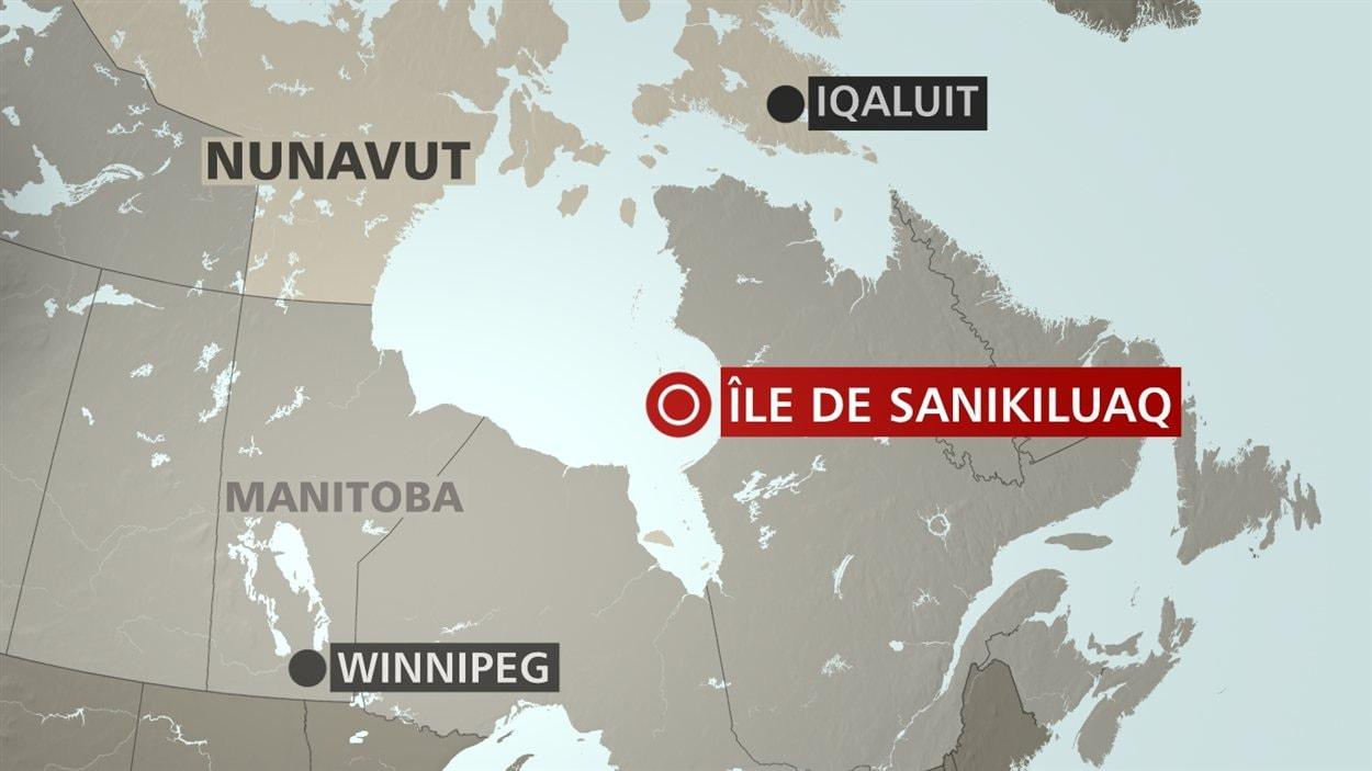 Carte des îles de Sanikiluaq, au Nunavut