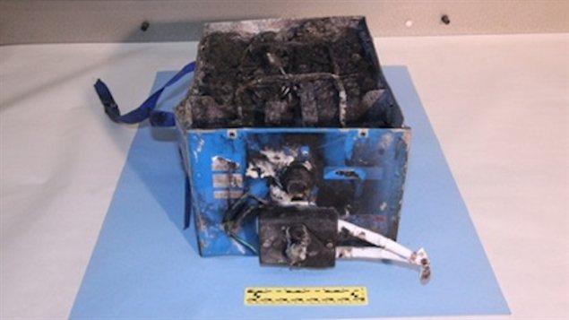 Le bloc-batterie dans lequel s'est déclaré un incendie à l'aéroport international de Boston.