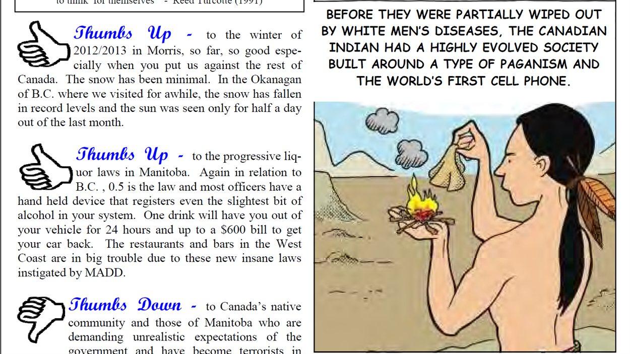 Caricature parue dans le journal local de Morris, au Manitoba, dans son édition du 4 janvier 2013.