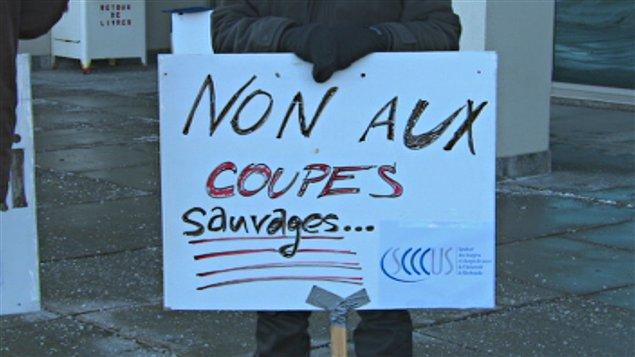 Manifestation des professeurs à l'Université de Sherbrooke
