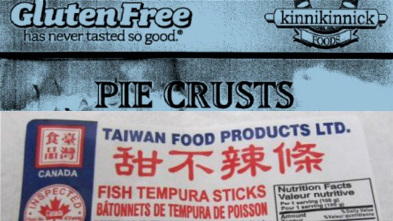 Les étiquettes des croûtes à tarte et des bâtonnets de poisson