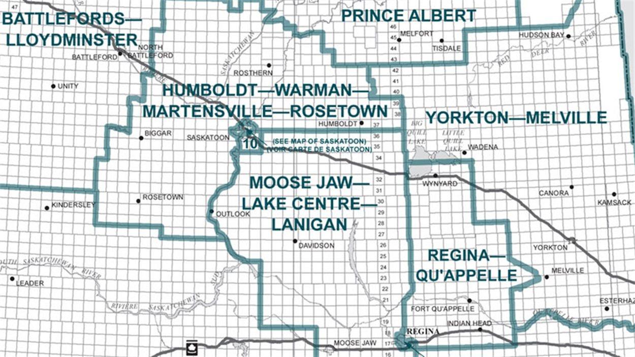 Carte des circonscriptions fédérales en Saskatchewan, préparée par la Commission de délimitation des circonscriptions électorales fédérales pour la Saskatchewan de 2012.