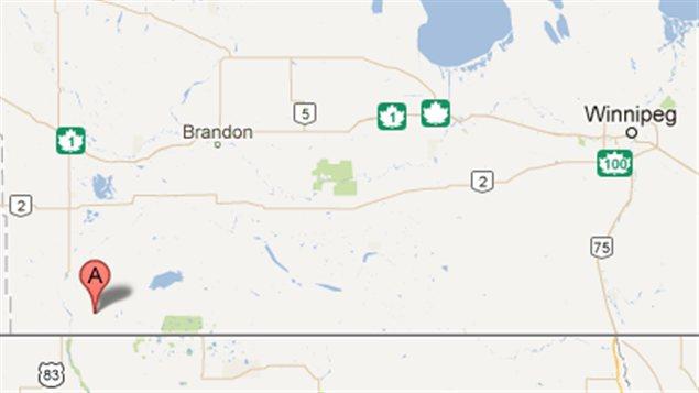 Carte montrant la communauté de Waskada, dans le sud-ouest manitobain, à proximité de la frontière du Dakota du Nord.