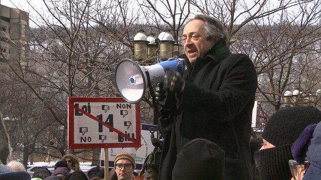 Plusieurs anglophones ont pris la parole au cours de la manifestation.