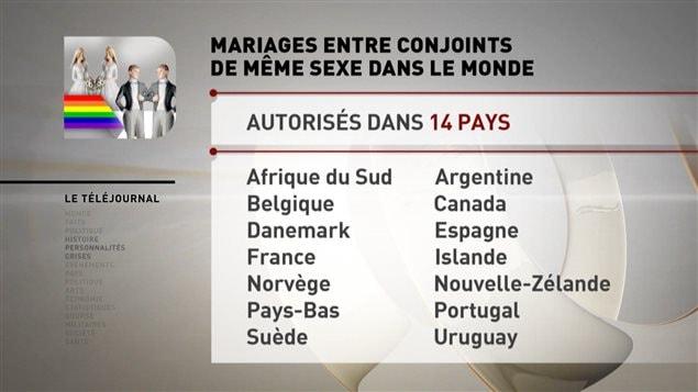 Mariage gai dans le monde