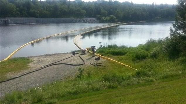 Des estacades ont été installées sur la rivière Chaudière dans le but de recueillir éventuellement des hydrocarbures.