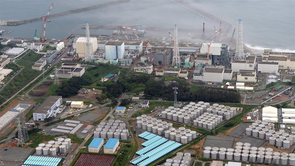 Vue aérienne de la centrale nucléaire de Fukushima, au Japon