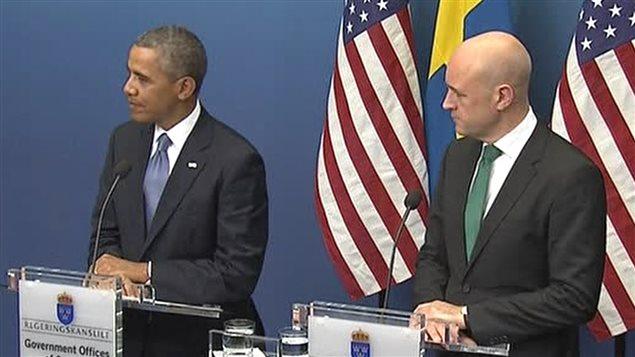 Le président des États-Unis, Barack Obama, s'adresse à la presse suédoise.