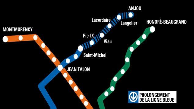 Carte du prolongement du métro