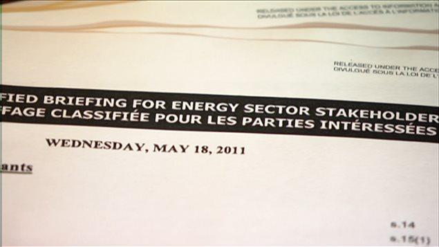 Des documents montrent que le gouvernement canadien a tenu des rencontres dites secrètes d'information, avec des dirigeants d'entreprises des secteurs de l'énergie.