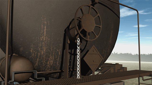 La roue qui est tournée à la main et qui, par la tension d'une chaîne, actionne les freins manuels.