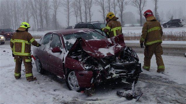 Un accident s'est produit sur l'autoroute Laurentienne.