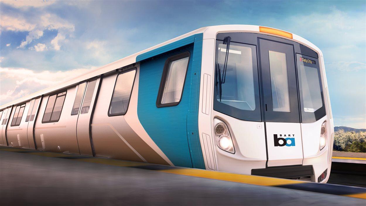 Représentation du train de Bombardier construit pour la société de transport de San Francisco.