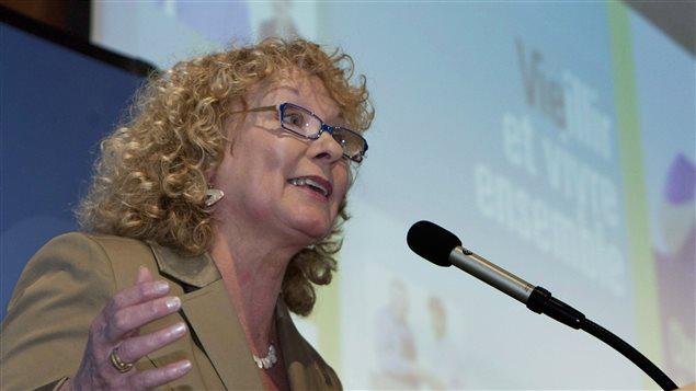 La députée libérale de Sainte-Marie-Sainte-Anne durant une allocution en mai 2012.