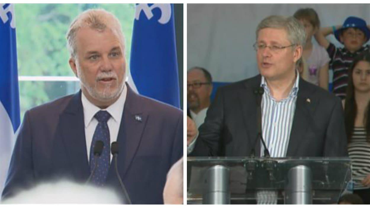 Philippe Couillard et Stephen Harper étaient de passage dans la région de Québec.