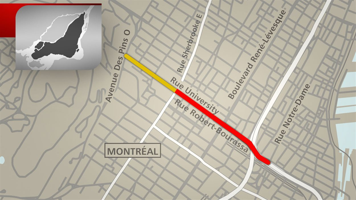 Le nouveau boulevard Robert-Bourassa commencera au futur tronçon urbain de l'autoroute Bonaventure jusqu'à la rue Sherbrooke.