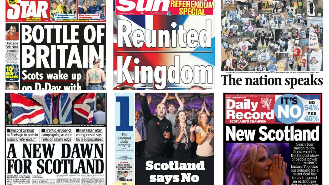 Les unes des quotidiens écossais après le référendum.
