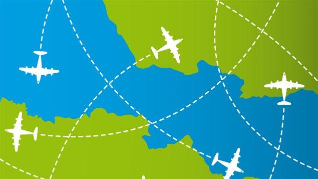 Des trajets en avion symbolisés.
