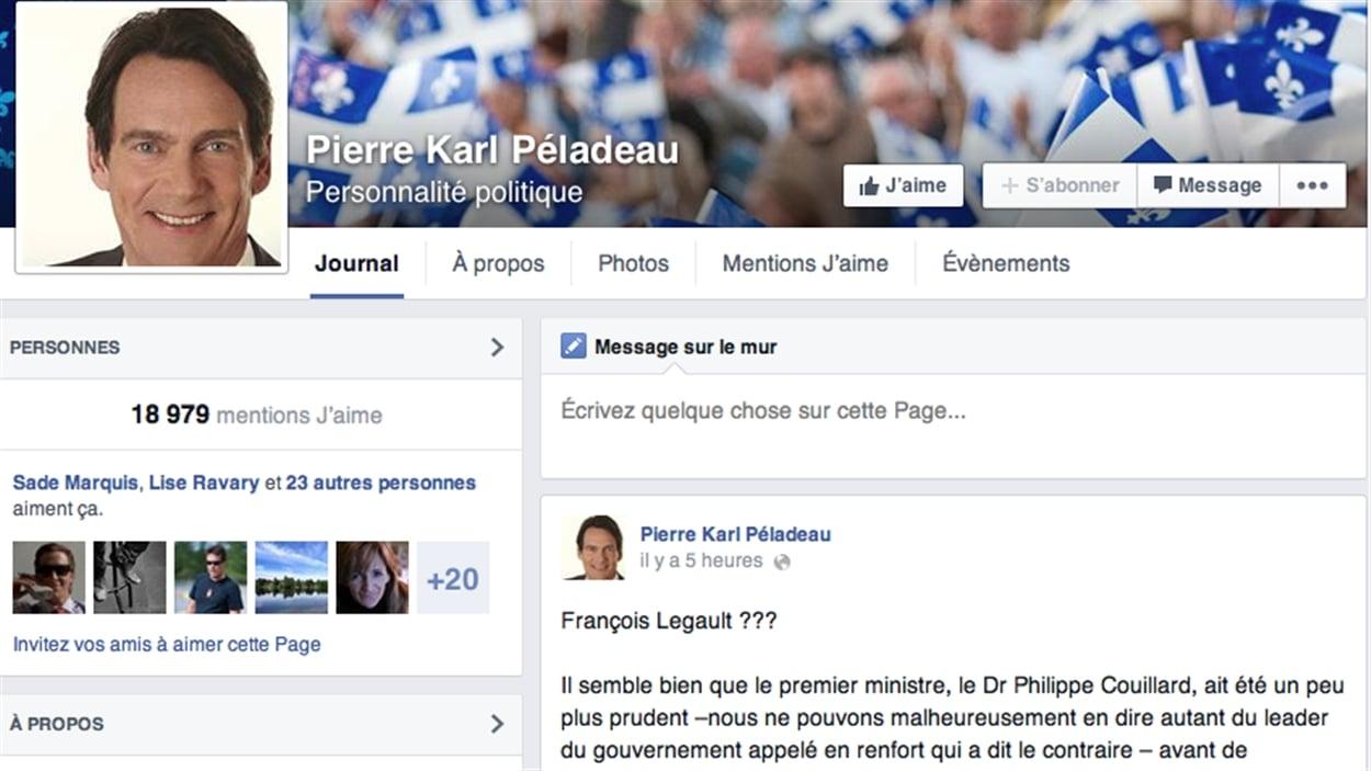 Page Facebook de Pierre Karl Péladeau