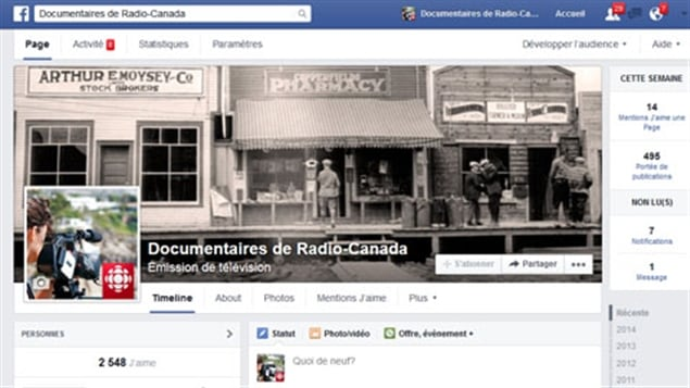 Page Facebook Documentaires de Radio-Canada