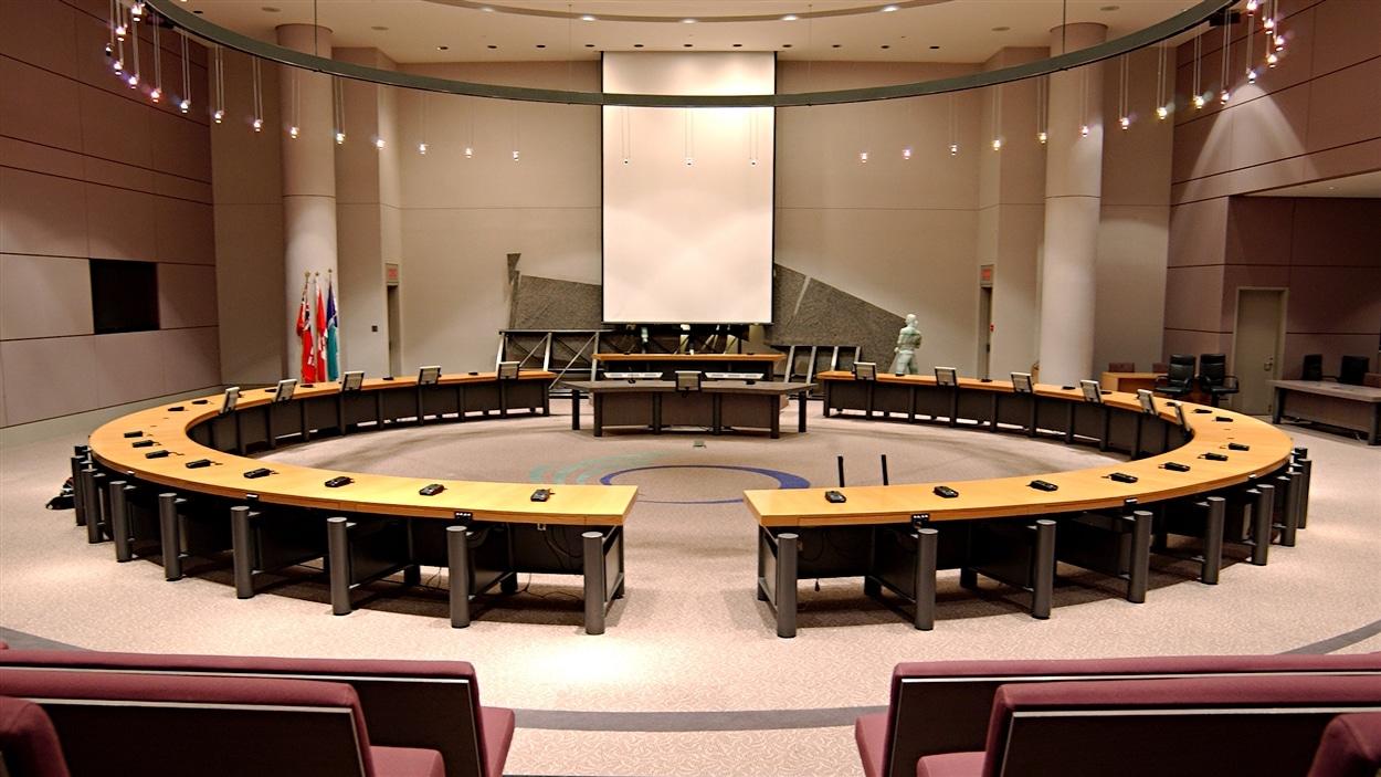 La salle où se réunit le conseil municipal d'Ottawa.