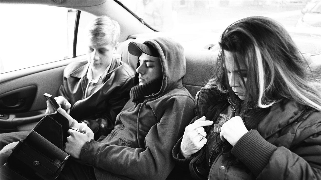 Antoine Pilon, Xavier Dolan et Anne Dorval lors du tournage de  Mommy