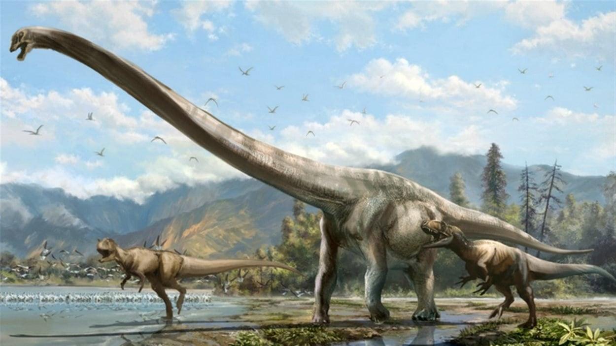 Le Qijianglong, qui aurait vécu il y a 160 millions d'années, possédait un cou qui faisait près de la moitié de la longueur totale de son corps. Représentation d'un artiste