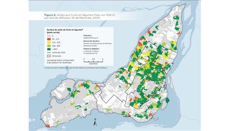 Carte des déserts alimentaires de Montréal