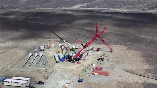 La construction de l'éolienne de Raglan