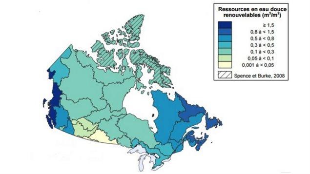 Carte des ressources en eau douce renouvelables au Canada