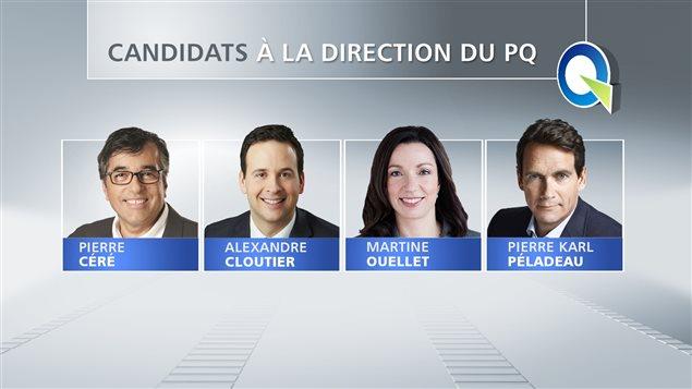 Les quatre candidats à la direction du PQ