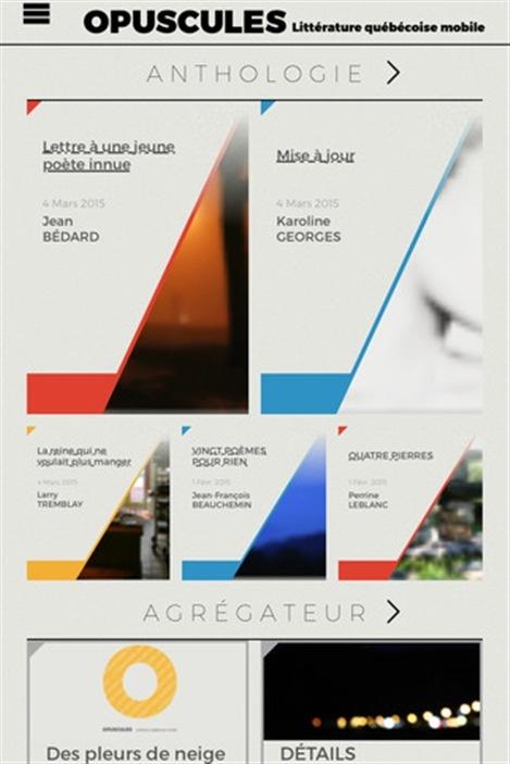 L'application Opuscules. Littérature québécoise mobile.