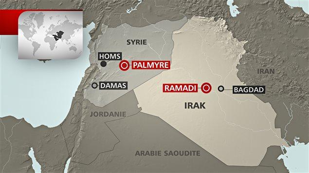 Une carte de la Syrie et de l'Irak